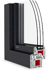 roh plastového okna PASIV CL v tmavej laminácii